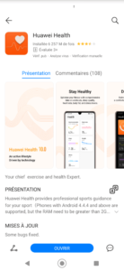 Huawei Health must be installed from App Gallery