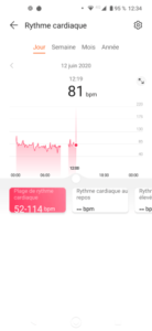 Heart rate in the Huawei Health app