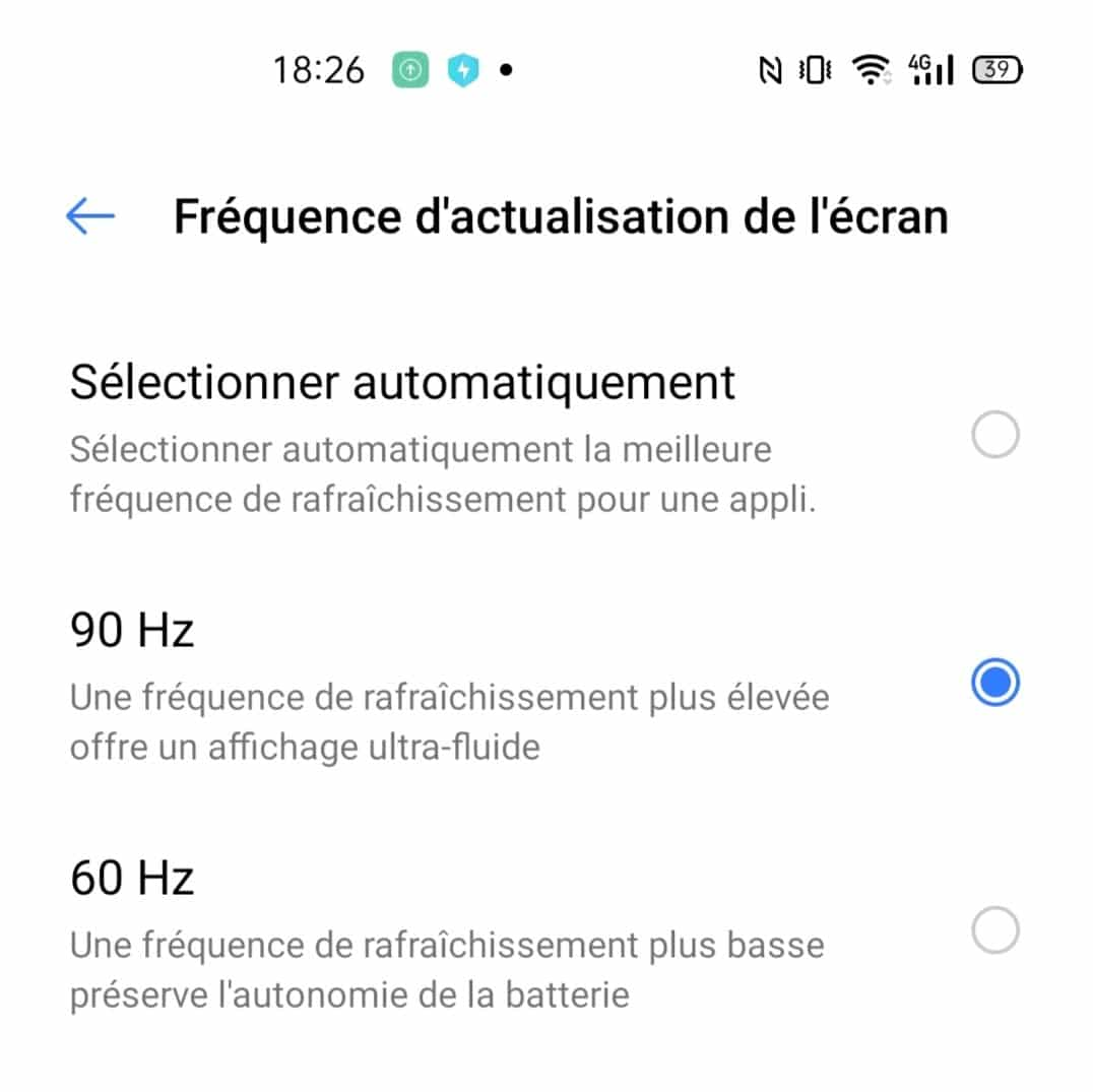 The 90 Hz option on the Realme 6 Pro screen